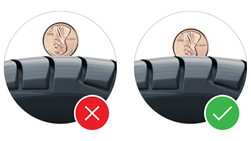 Tire bald penny test